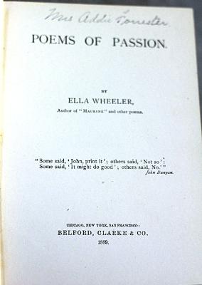 Poems Of Passion Ella Wheeler Wilcox 1889