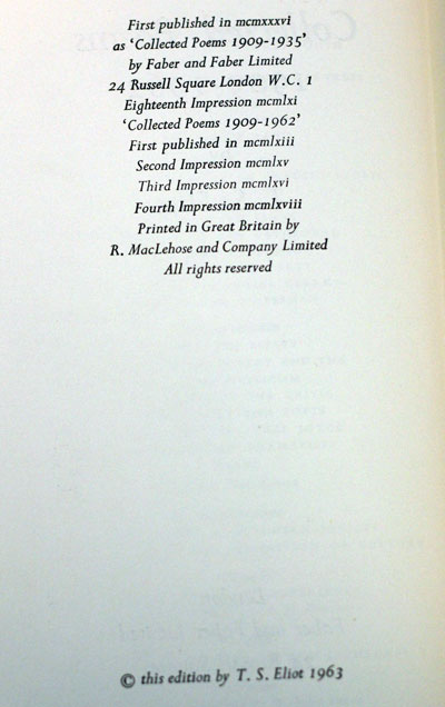 Collected Poems 1909 1962 T S Eliot