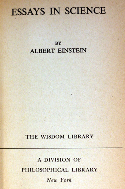 einsteins essays in science  st ed  gohd books prev